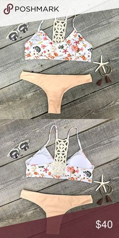 Floral Bikini top with Cheeky Bottoms New and unworn. Unbranded- listed as acacia swimwear for views.   Cute floral top with padding  Peach/Nude Cheeky Brazilian Bottoms Great Quality and Fit No Trades All Offers submitted through the offer button Victoria's Secret Swim Bikinis