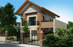 Alberto is a two-storey house design that can be fitted in a not so big lot area. The ground floor is m², while the second floor occupied by bedrooms Two Story House Design, 2 Storey House Design, Two Story House Plans, Two Storey House, Bungalow House Design, House Front Design, Small House Design, Dream House Plans, Contemporary House Plans