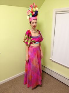 Homemade Carmen Miranda costume.  The hat is paper mache with acrylic paint and lots of glue.  The shirt is a reworked thrift store find and the skirt and jewelry are vintage.