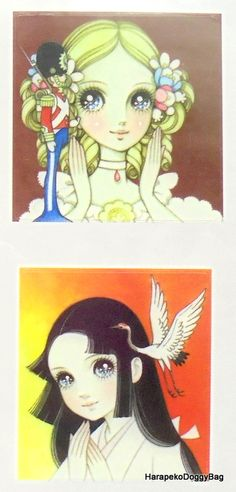 Kawaii illustration of girls with big eyes. This is from a sticker sheet released in the 2000s for a Macoto Takahashi Japanese shojo art exhibition in Tokyo, Japan.