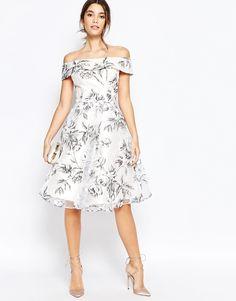 Image 4 ofChi Chi London Off Shoulder Midi Dress in Organza