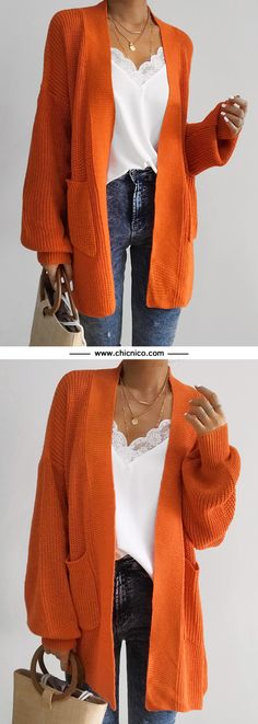 $47.99! Chicnico Casual Oversize Orange Long Cadigan Orange Cardigan Outfit, Orange Sweaters, Women's Sweaters, Cardigans, Orange Clothes, Wedding Trends, Wedding Ideas, Diy Wedding, Wedding Ceremony