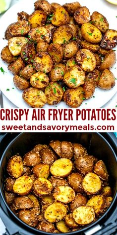 Air Fryer Potatoes are perfectly seasoned and crispy on the outside but fluffy and tender on the inside! Snack on them without the guilt! #airfryer #airfryerpotatoes #sidedish #sweetandsavorymeals #potatorecipes Easy Potato Recipes, Best Chicken Recipes, Vegetable Sides, Vegetable Recipes, Cooking Baked Potatoes, Air Frier Recipes, Side Dishes, Food Inspiration, Easy Meals
