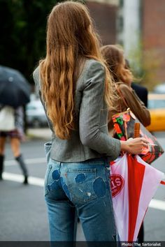 Fashion pictures or video of Patched denim street style pictures; The Sartorialist, Patched Jeans, Warm Outfits, Best Jeans, Fashion Pictures, Style Pictures, Vintage Denim, Denim Fashion, Style Me