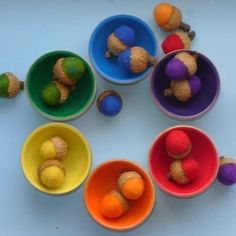 Rainbow Sorting Acorns, 3 sets of Rainbow Acorns (18), Waldorf Montesori Felted Educational preschool color Toy