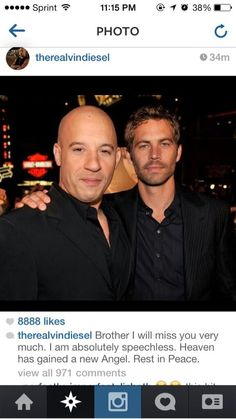 Vin Diesel reacts to Paul Walker's passing..Im crying now =(
