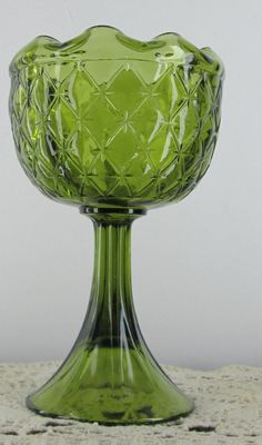 Green Indiana Glass Compote Duette Diamond 9in Candy Dish Vase Avocado Vintage