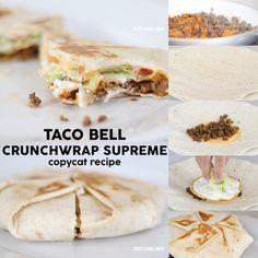 DIY Taco Bell Crunchwrap Supreme copycat recipe to make a home. Saving this! Copycat Recipes, Gourmet Recipes, Mexican Food Recipes, Cooking Recipes, What's Cooking, Mexican Dishes, Beef Recipes, Taco Bell Crunchwrap Supreme, Homemade Crunchwrap Supreme