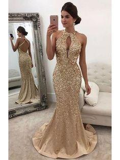 Mermaid Dresses Wedding Inspirational Sparkle Heavy Beaded Mermaid Open Back Inexpensive Long Prom Dresses Gorgeous Prom Dresses, Gold Prom Dresses, Prom Dresses For Sale, Satin Dresses, Pretty Dresses, Sexy Dresses, Formal Dresses, Gold Formal Dress, Long Dresses