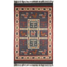 Hand-woven Blue Tribal Print Wool and Jute Rug (5' x 8') | Overstock.com Shopping - The Best Deals on 5x8 - 6x9 Rugs