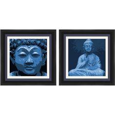 Buddha Blue Wall Art, Set of 2