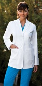 "NRG Women's 30Ó Double Collar Scrub Lab Coat by Barco Uniforms 3415 $39.00 NRG by Barco is a line of scrubs with an activewear appeal.   This women's lab coat has a double collar with tab detail, waist seam, and two pockets.     Double collar with tab detail   Waist seam   Two pockets   30"" long   arcFlex™ - 64% cotton, 34% polyester, 2% spandex"