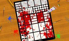 horror planner stickers blood drippy splatter halloween red gothic printable psycho killer agenda organizer download scrap lasoffittadiste
