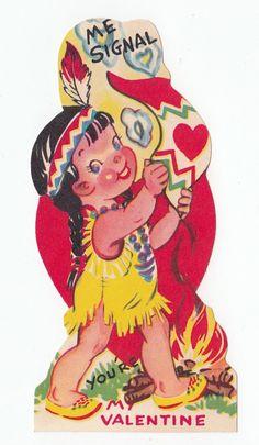 Vintage Greeting Card Valentine Die Cut Cute Little Girl Indian Native American   eBay