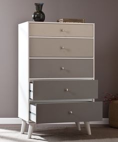 Gray Scale Color Block Five-Drawer Dresser