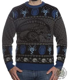 Product in Stock Ships in 1-2 Days Mondo x Middle of Beyond bring you this officially licensed Alien sweater. This sweater is made of 100% acrylic. Black, dark grey, light grey, dark blue and light bl