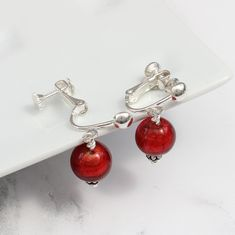 Beautifully elegant round murano glass earrings on sterling silver for pierced and unpierced ear. A lovely jewellery gift for her birthday or Christmas hook Jewellery Earrings, Chain Earrings, Glass Earrings, Clip On Earrings, Statement Earrings, Black Gift Boxes, Fish Hook, Murano Glass, Diamond Shapes
