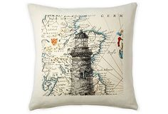 Lighthouse 20x20 Pillow, Gray   This cotton pillow is printed with a charming design of a tall lighthouse overlaid on a map. The pillow has a polyester insert. Please note: This pillow is not printed on both sides.