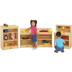 Wooden toddler kitchen set