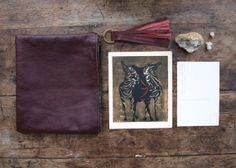 Traveler Zipper Clutch - Burgundy Leather