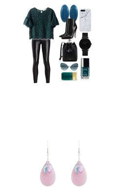 """""""Teal Patent Leather Fabric Studs"""" by lionaleedesigns on Polyvore featuring Christian Louboutin, Mansur Gavriel, CLUSE and Marc Jacobs"""