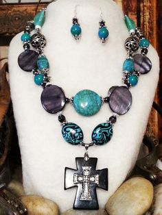 LOVE this!  -->  $55 BOLD COWGIRL chic rebel 2 PS necklace earrings set Turquoise stone black cross 925 sterling silver Grey Smoke antique Western Rodeo Texas