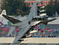 "Russian Yakolev Yak-130 ""Mitten"" trainer  attack aircraft."