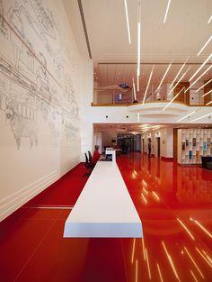 Virgin Atlantic lobby- Lights as indicators of speed + floor reflection