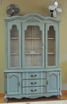 CUSTOM PAINTED Vintage French Provincial China Cabinet by ForgetMeNotsCottage, $799