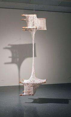 Dimensions variable Chairs and twine 2012 Textile Sculpture, Textile Art, Pizza Art, 3d Studio, Bronze, Art Plastique, Installation Art, Contemporary Artists, Art Boards