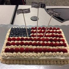 A United States flag cake I made for the hubby's promotion in the Army!