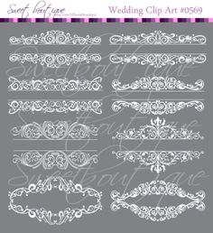 WHITE Digital Borders Frames Ornate Retro Vintage Wedding Bridal Shower Decorations Supplies Clip Art Clipart Scrapbooking Craft Supply 0569...