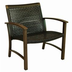 allen + roth Set of 2 Grand Lake Brushed Oak Aluminum Woven Patio Chairs