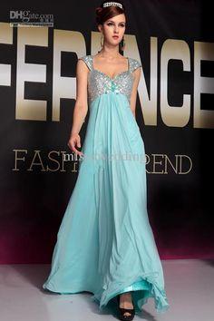 New Fashion Custom made Wide straps Empire Full length Chiffon sequine flowers Prom evening dresses