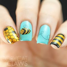 Copycat Claws: The Digit-al Dozen does New & Impro. Copycat Claws: The Digit-al Dozen does New & Great Nail Art Ideas Things That Fly – Advanced Stamping Bees Nails Polish, Nail Polish Designs, Cute Nail Designs, Trendy Nail Art, Cool Nail Art, Great Nails, Cute Nails, Diy Nails, Bumble Bee Nails