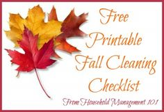 Free printable fall cleaning checklist from Household Management 101.