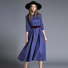 Maxlindy+Women's+Going+out+/+Party/Cocktail+/+Holiday+Vintage+/+Street+chic+/Midi+Swing+Dress+–+DKK+kr.+1.257