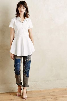 Anthropologie EU Frosted Poplin Shirt. Named after poet, novelist and veritable free spirit Hilda Doolittle, HD in Paris embraces the experimental side of chic, using high-quality fabrics and silhouettes that are at home in any era. We adore this endlessly versatile poplin top, accented with a flattering circle hem and charmingly capped sleeves.