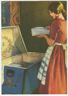 Do girls even keep Hope Chests any more? When I had kids I turned it into a toy box because my parents bought me a toy box and not a hope chest too funny! Nostalgia, Fee Du Logis, Retro, Inspiration Art, Ol Days, The Good Old Days, Hope Chest, Vintage Art, Vintage Images
