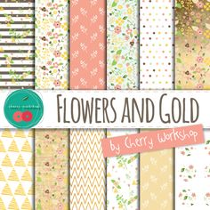 Floral Digital Paper with gold details and gold foil