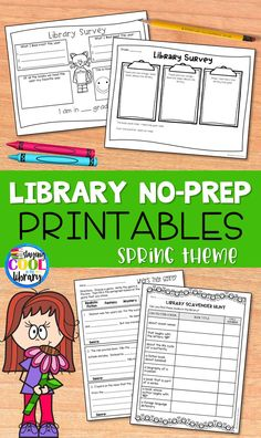 Elementary Library Lesson Plans Best Of Library No Prep Printables Spring Summer School Library Lessons, Library Lesson Plans, Elementary School Library, Library Skills, Library Books, Library Ideas, Library Activities, Library Science, Dictionary Skills