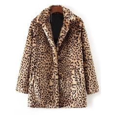 Faux Fur Leopard Coat (€41) ❤ liked on Polyvore featuring outerwear and coats