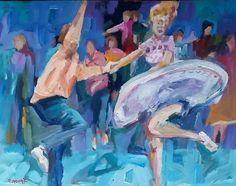 Doing the Lindy Hop, acrylic on board, 40cm x 30cm, NZ ART www.paulinegough.com Nz Art, Lindy Hop, Medium Art, Mixed Media Art, Board, Painting, Painting Art, Paintings, Mixed Media