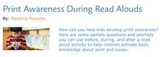 How can you help kids develop print awareness? Here are some sample questions and prompts you can use before, during, and after a read aloud activity to help children activate basic knowledge about print and books. Print Awareness, Concepts Of Print, Literacy Programs, Can You Help, Read Aloud, Rockets, Prompts, Students, Knowledge