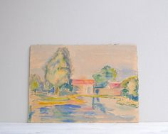 Hey, I found this really awesome Etsy listing at https://www.etsy.com/listing/192460609/vintage-watercolor-painting-from-the