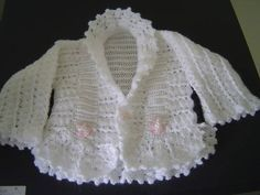 Yes, I know, this is knitting but it is also great inspiration for a copy-cat crochet version. Crochet Baby Jacket, Crochet Baby Sweaters, Baby Girl Crochet, Crochet Baby Clothes, Vestidos Bebe Crochet, Crochet Bebe, Knit Crochet, Baby Knitting Patterns, Baby Patterns