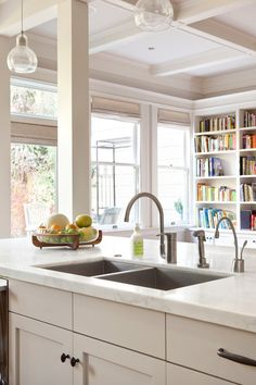 "Without the space for a main sink and a separate prep sink, this large, two-bowl Moen Lancelot sink fit the bill. ""The length of the island ..."