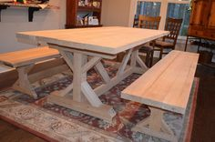 Our Fancy Smancy Farmhouse Table with matching benches Trestle table (Ana White plans) Farmhouse Table With Bench, Farmhouse Kitchen Tables, Farmhouse Furniture, Furniture Plans, Trestle Table Plans, Home Decor, Seating Capacity, Rustic Feel, Rustic Barn