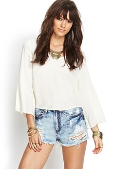 Distressed Cloud Wash Cutoffs | FOREVER21 - 2000120929