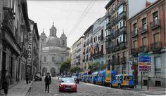Efemérides de Madrid. 2 de febrero. Foto composición de la Real Basílica de San Francisco el Grande realizada con una imagen de 1920 y otra de 2015.